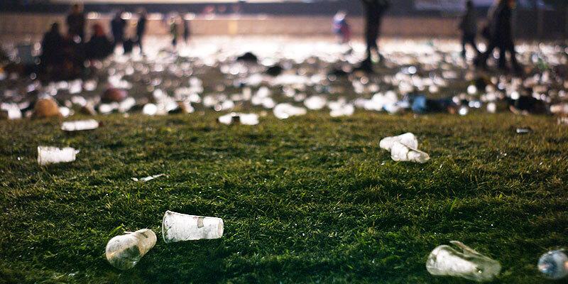 waste after Glastonbury Festival
